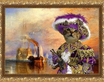 Tabby Cat American Shorthair Fine Art Canvas Print - The return in the New World