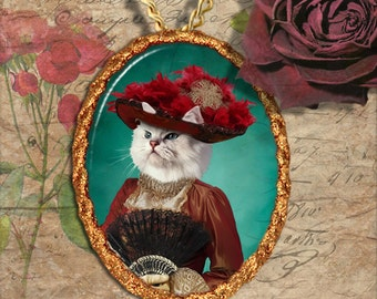 Persian Cat Chinchilla Jewelry Pendant Necklace - Brooch Handcrafted Ceramic