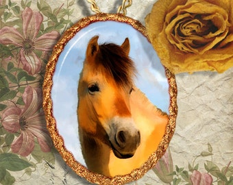 Norwegian Fjord Horse Pony Jewelry Pendant Necklace Handcrafted Ceramic
