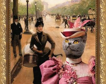 Blue Cat British Shorthair Fine Art Canvas Print - La Modiste Sur Les Champs Elysees