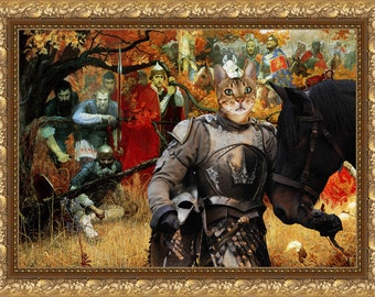 Tabby Cat Savannah Fine Art Canvas Print - Where is enemy
