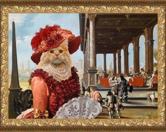 Cat Maine Coon Fine Art Canvas Print -  Elegant company on a palace