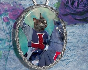 Black Cat Turkish Angora Jewelry Pendant Necklace - Brooch Handcrafted Ceramic