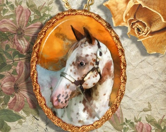 Appaloosa Horse Jewelry Pendant Necklace or Brooch Handcrafted Ceramic