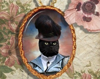Black Cat Jewelry Pendant Necklace - Brooch Handcrafted Ceramic