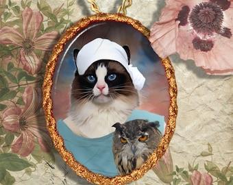 Ragdoll Cat  or Birman Cat Jewelry Pendant Necklace - Brooch Handcrafted Ceramic