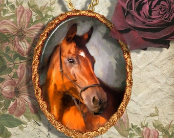 Bay Horse Thoroughbred Horse Jewelry Pendant Necklace Handcrafted Ceramic