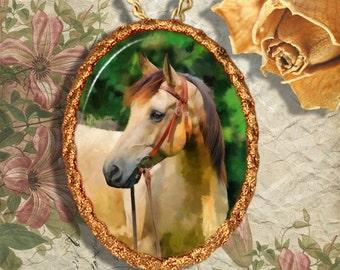 Buckskin Horse Western Quarter Horse Jewelry Pendant - Brooch Handcrafted Ceramic