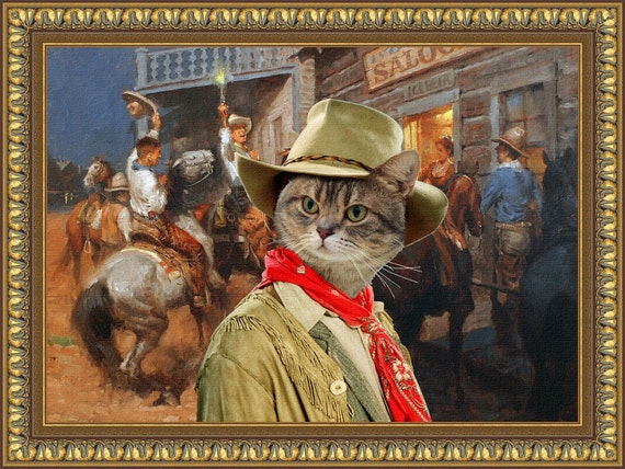 Tabby Cat American Shorthair Fine Art Canvas Print - Hello Boys