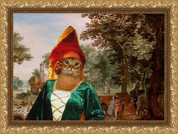 Abyssinian Cat Fine Art Canvas Print - The Landscape with Noble Lady