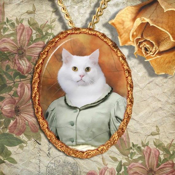 White Cat Turkish Angora Jewelry Pendant Necklace - Brooch Handcrafted Ceramic