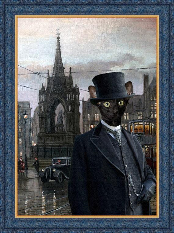 Black Cat Oriental Shorthair Fine Art Canvas Print - Manchester Square at Dusk