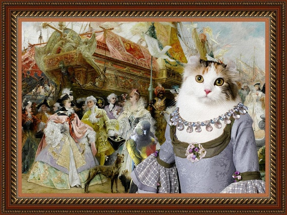 Cat American Curl Fine Art Canvas Print - The Royal Entourage