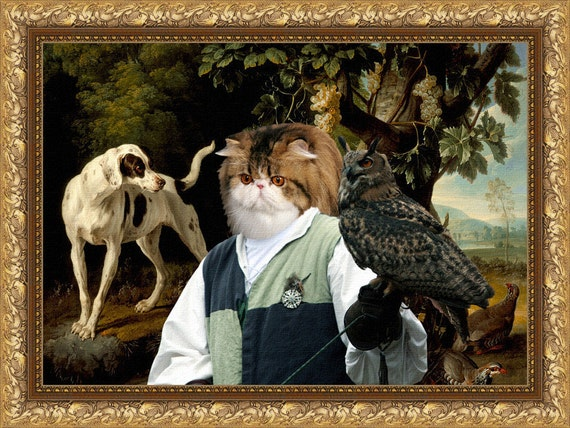 Persian Cat Fine Art Canvas Print - Landscape with a Falconer,Dog and Partridges