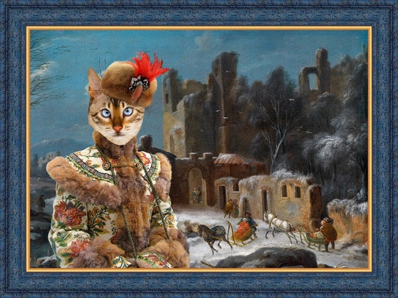 Tabby Bengal Cat Fine Art Canvas Print - A winter landscape with travellers