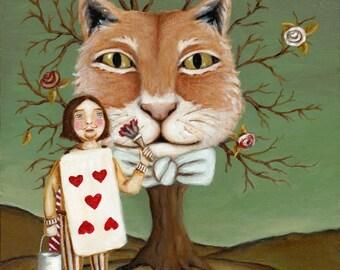 Alice in Wonderland Art - The Cheshire Cat print 8x10