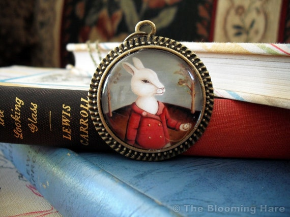 Wearable Art Jewelry - Alice in Wonderland White Rabbit Pendant Necklace