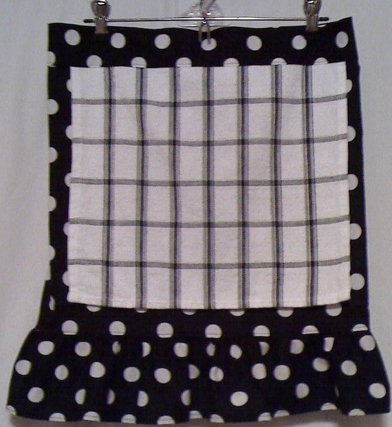 Black Polka dot Half apron with towel