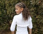 Hand Knit White Bolero/Shrug For Girls - Ready to ship