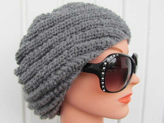 Hand Knit Swirl Hat,  Slouchy Hat in True Gray,  Gray Hat for Women and Teen Girls, Light Gray Soft Swirl Slouchy Cap Hat