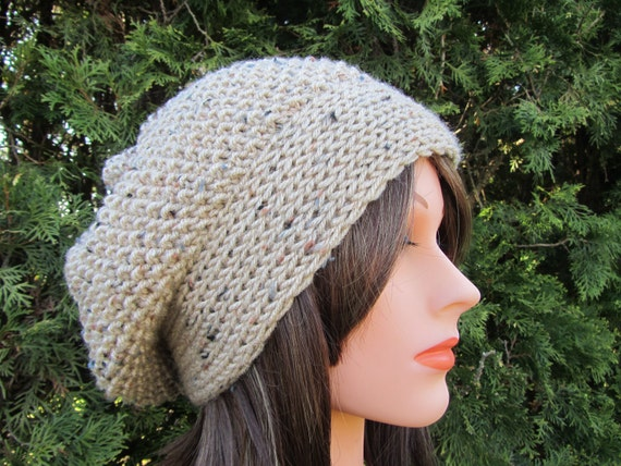 Unisex Buff Fleck Hand Knitted Tam Hat - Tam Hat in Cream Beige - Spring and Winter Accessories