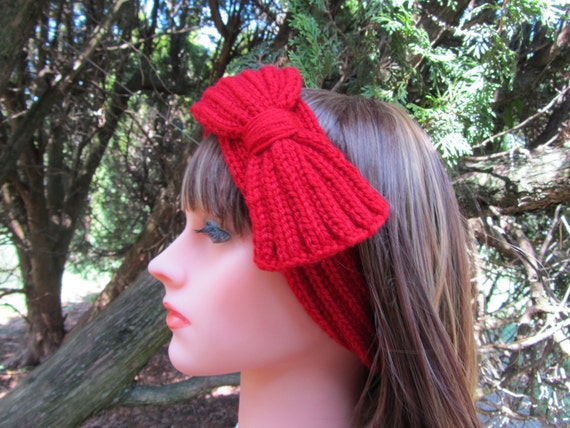 Hand Knit Head Band With a Bow in Crimson Red, Red Hairband, Fashion Accessories