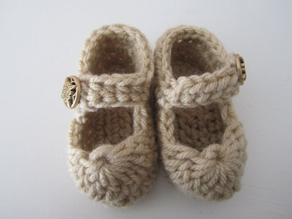 Baby Booties - Mary Jane Baby, Newborn Slippers size 0-3 months