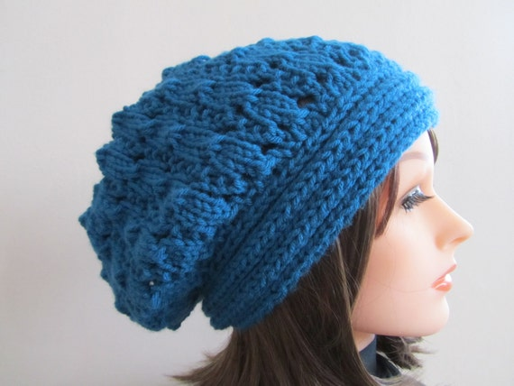 Blue Hat, Hand Knit Slouchy Hat in Ocean Blue