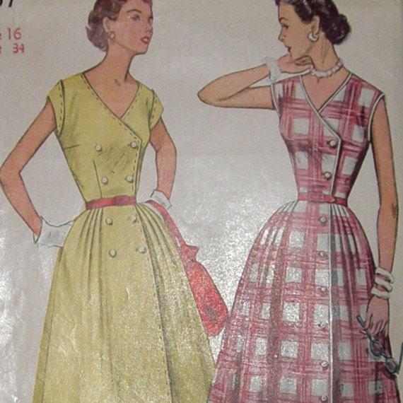 Vintage 1950's Simplicity 4357 Misses one piece Sleeveless Dress