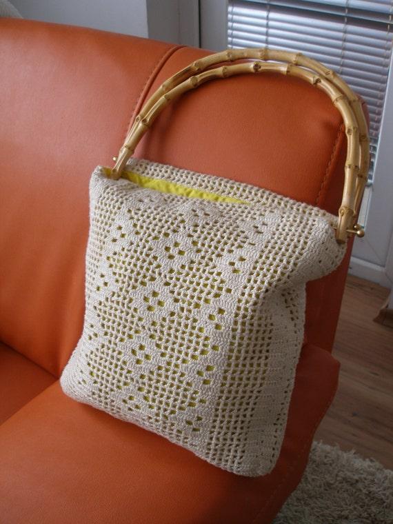 Vintage Crochet Handbag, Bamboo Handles