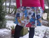 Vintage British Fabric PADDINGTON BEAR Pleated Mini Skirt L XL
