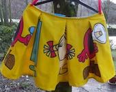 Bright & Cheerful  MR MEN Retro 80s Cartoon Pleated Mini Lolita Party Skirt sz L XL
