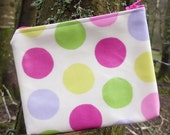 Multi Color Polka Dot Oilcloth Zippered Pouch Camera Phone Change Case Pink Zipper