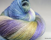 "Handpainted lace yarn  - Fusion ""Dumbbell Nebula Closeup"" - Bluefaced Leicester wool / silk BFL lace weight"