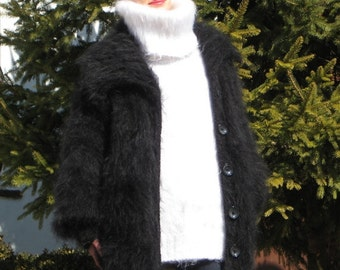 CLASSIC BLACK Hand Knitted Mohair Sweater Coat Cardigan
