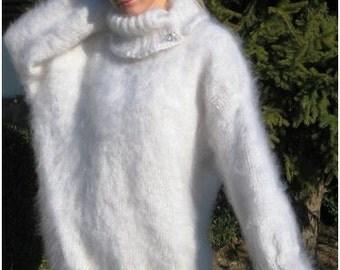 Convertible Collar Neck Hand Knitted Mohair Sweater Dress