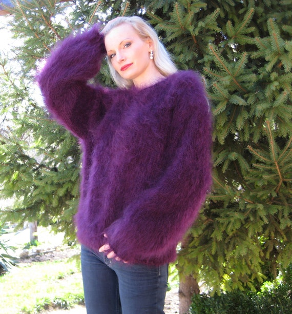 Very fuzzy hand knitted mohair sweater, purple unisex pullover