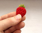 Winter strawberry brooch / Nature inspired gift for her in red and green