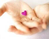 Super small lilac heart brooch / Tiny plush heart / Purple, lilac, violet, fuchsia