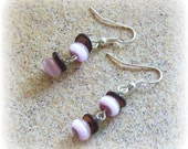 Pink and Tiger eye Dangle Earrings