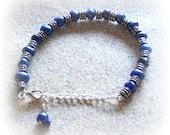 Deep Blue Freshwater Pearl Bracelet