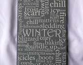 Winter Subway Sign:  Winter, snow, skiing, boots, icy, mittens, snowflakes, hibernate, ice skates, hot cocoa, baking, frost, scarf, chill