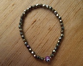 Purple Evil Eye and Iris Brown Czech Beads Stretch Bracelet