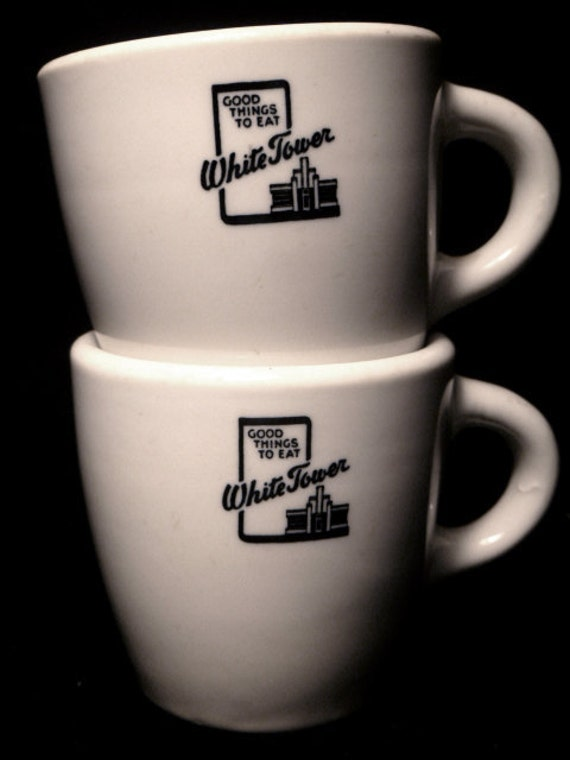"""Vintage Pair of White Ironstone """"White Tower""""  Automat Mugs from the 1950s"""