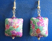 "Floral Pastel Millefiori Pillow Art Bead Dangle Earrings - ""Garden View"""