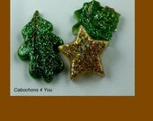 Leaves, Star cabochons ready to use in gold tones, earth green and kelly green colors for designers and jewelry artist