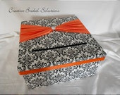 Black and White Madison Damask Wedding Card Holder Box- Orange- Square