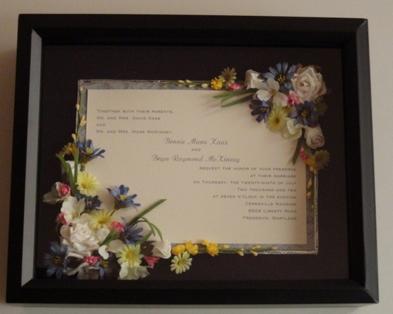Gifts Using Wedding Invitation: Items Similar To Single Page Wedding Invitation Shadow Box
