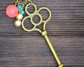 Antique Bronze Metal Skeleton Key Necklace with Bead Dangles