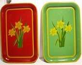 Tin Daffodil Serving Trays C. 1950s
